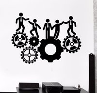 Wholesale quotable wallpapers for sale - Group buy Hot Sale Vinyl Wall Decal Office Team Work Gears Inspiration Stickers Mural Office D Wallpaper Wall Sticker Bedroom Poster