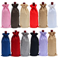 Wholesale linen blinds resale online - Jute Wine Bottle Covers Champagne Wine Blind Packaging Gift Bags Christmas Wedding Dinner Table Decorate x36cm RRA2052