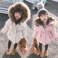 lange kapuzenjacke kinder groihandel-Kinderbekleidung Winter-Pelz-Baby-Jacke für Mädchen 1-7 Jahre Warm mit Kapuze Thick Cotton-Padded Lange Fest für Kinder Mantel