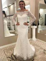 aus schulter passen flare brautkleid großhandel-Long Sleeves Lace Brautkleider Off the Shoulder Brautkleider Fit zu Flare Brautkleider