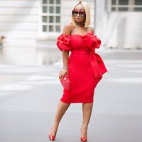 vestidos grandes vintage venda por atacado-Red Strapless Vestidos de Cocktail Curto Curto Grande Arco Frente Atraente Vestido de Festa À Noite para As Mulheres de Manga Curta com Bolso Prom Vestido