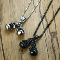 Wholesale necklace for pairs for sale - Group buy Double Fist Men s Necklace Pendant Pair Boxing Gloves Chain Necklace Sets Sport Fitness Jewelry Gift for mens Papa Boyfriend