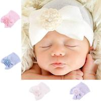 grandes casquettes achat en gros de-Bonnet tricoté pour bébé, nouveau-né, chapeau, solide, rayé, grand, noeud, fleur, perle, fille, casquette-haie
