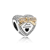 grandes letras de strass venda por atacado-Letras Casadas Coração Bowknot Grande Buraco Alloy Rhinestone Beads Diamante Solta Pérolas para o Encanto Europeu Pulseira Jóias presente