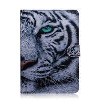 baykuş cüzdanı deri kapak toptan satış-Huawei Onur için MediaPad T5 10.1 inç Tablet Kılıf Kapak Çevirin Standı Deri Cüzdan Renkli çizim Kaplan Aslan Baykuş Çiçek