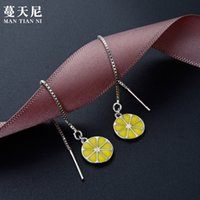 Wholesale lemon drop for sale - Group buy Japanese And Korean Style Fashion Creative Fashion Earrings S925 Sterling Silver Long Lemon Earrings Womens Ear Wire Drop Earrings Silver Je