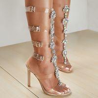 kadın yapay elmas yüksek topuklu ayakkabı toptan satış-Bayan Rhinestone Çiçekler Sandalet Açık Toe Uyluk-Yüksek Çizmeler Sandal Yüksek Topuklu Şeffaf Temizle Çizmeler XW36