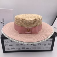 Wholesale sweet hats resale online - Pink color matching pearl straw straw hat ladies summer sweet fashion wild sunscreen holiday sunhat