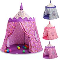 Wholesale folding yurt resale online - akitoo Children s cloth tent Prince Princess game castle game house yurt Outdoor indoor crawling folding toy