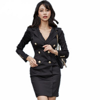 ingrosso mini abito nero coreano-autunno e inverno coreano vestito OL temperamento dentellato doppio petto slim dimagrante abito nero vestidos