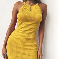 ingrosso vestito di cotone giallo per le donne nere-Donne Sexy Club Backless Spaghetti Strap Summer Dress 2019 Cotton Ladies Elastico Bodycon Nero Giallo Party Mini Abiti Vestido