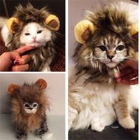 peluca de la melena al por mayor-Multi divertida del gato emulación de la cabeza del león Sombrero Fit color del animal doméstico perrito vestir Mane peluca de la manera Animales Disfraces 11 5DJ E1