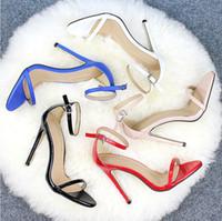 düğün için mavi sandaletler toptan satış-Klasik seksi mavi kırmızı peep toe sandalet kadın düğün ayakkabı siyah yüksek topuklu rahat resmi ayakkabı Stiletto Topuk düğün ayakkabı stokta giymek