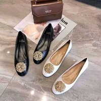 arbeit müßiggänger großhandel-Ballerinas Slip-on Bowtie Herbst Frau Luxus Designer Single Schuhe Arbeitsschuhe Damen Damen Schuhe Shallow Mouth Loafer Schuh