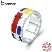 Wholesale geometric rings for sale - Bamoer Authentic Sterling Silver Colorful Enamel Geometric Square Finger Rings For Women Sterling Silver Jewelry Scr251 J