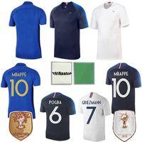 camisa paul venda por atacado-France Soccer Jersey Le Sommer Mbappé GRIEZMANN HENRY RENARD Kylian Paul Pogba GIROUD LEMAR Kante Football Shirt 100 Uniforme de futebol