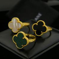 anéis gemstone mexicano venda por atacado-Anéis de Quatro Folhas Projeto Do Trevo Senhora Anel de Dedo natureza pedra preciosa ágata shell Fit tudo Para Meninas Mulheres PS7604