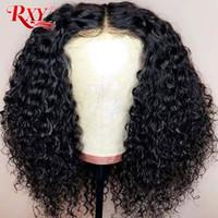 natural peruca kinky frente perucas venda por atacado-Curto Bob Kinky Curly Lace Front Perucas de Cabelo Humano Para As Mulheres Negras Brasileiro Remy Lace Frontal Perucas Pré Arrancadas Com o Cabelo Do Bebê
