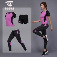 Wholesale gym clothes shorts women for sale - Group buy Women Yoga Set Gym Fitness Clothes Yoga Shirt Pants Running Tight Jogging Workout Yoga Leggings Sport Suit Leggings pants W013