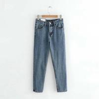 Wholesale cozy pants resale online – designer Boyfriend Jeans Woman Loose Cozy Jeans Blue Mom Pants Jeans Women Casual High Stree Good Quality