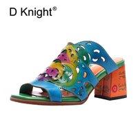ingrosso tacchi in boemia-I sandali di cuoio genuini fatti a mano delle donne di estate scavano fuori i ciabattini della spiaggia dei ciabattini dei tacchi alti delle pantofole della Boemia dell'annata per la donna
