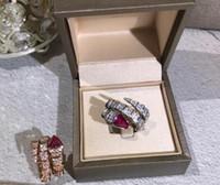 jóias de anéis de cobra venda por atacado-Designer SERPENTI anel de jóias de prata esterlina 925 ouro Cubic Zircon anel de serpente anel de noivado de luxo mulher 2 cor