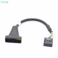 Wholesale wholesale laptop motherboards online - USB3 to USB2 P Male To P Female Motherboard Cable Computer Cable Adapter Chassis front turn wiring