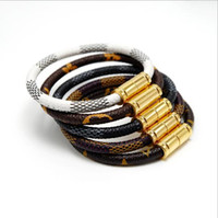 Wholesale brass bracelets sale resale online - Hot Sale Luxury New Fashion Brand Jewelry L Stainless Steel Bracelets Bangles Pulseiras Leather Bracelets For Women Men Gift