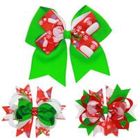 Wholesale hair clip ribbon grosgrain flower resale online - Baby Bow Hair Clips Christmas Grosgrain Ribbon Bows Christmas Design Hair Flowers Children Headwear Baby Hair Accessories B11