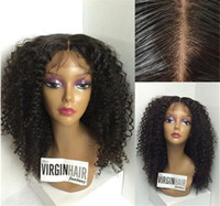 brazilian bakire afro kıvırcık peruk toptan satış-En iyi Sapıkça Kıvırcık Dantel Ön İnsan Saç Peruk Bakire Brezilyalı dantel ön Peruk Siyah Kadınlar Için Afro Kıvırcık Tam Dantel İnsan Saç Peruk