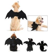 trajes de murciélago negro al por mayor-Moda Pet Cosplay Ropa Perros Gatos Disfraz de Halloween Black Bat Wings Harness