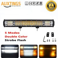 barra de luz amarilla led impermeable al por mayor-7D 20 pulgadas 288W LED Barra de luces LED 5 modos Combo Bar Impermeable IP67 Coche Barco Off-Road Niveles Blanco Amarillo Luz de trabajo de conducción