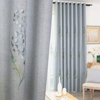 tela azul china al por mayor-Dormitorio de bordado de estilo chino, sala de estar, ventana francesa, algodón y tela con proceso personalizado de cortinas de tul