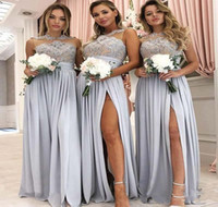 Wholesale wedding dress olive color for sale - 2019 Sheer Neck Bridesmaid Dress Chiffon Summer Country Garden Formal Wedding Party Guest Maid of Honor Gown Plus Size Custom Made
