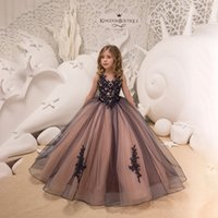Wholesale retail wedding dress for sale - Group buy Retail baby girls black lace mesh flower embroidered wedding dress kids party evening dresses girls floor length luxury formal skirts