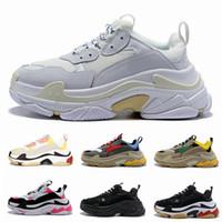 kadınlar için eski ayakkabılar toptan satış-Paris 17FW Üçlü-S Yürüyüş Ayakkabı Lüks Baba Ayakkabı Chaussures Femme Üçlü S 17FW Tasarımcı Sneakers Erkekler Kadınlar için Vintage Eski Büyükbaba Eğitmen