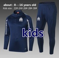 çocuklar izleme toptan satış-Yeni 2019 Olimpiyat Marsilya ÇOCUK Eşofman Futbol Koşu Futbol Ceket Pantolon Tops Spor Eğitim 18 19 çocuk OM Futbol Eşofman