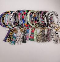 ingrosso le ragazze hanno legato il cuoio-EUBFREE 10 pezzi colori misti in pelle PU O portachiavi personalizzato cerchio nappa braccialetto portachiavi braccialetto portachiavi donna ragazza portachiavi cinturino da polso