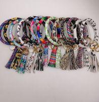 cuir à lanières pour filles achat en gros de-EUBFREE 10pcs couleurs mélangées PU Cuir O Key Chain Personnalisé Cercle Tassel Poignet Bracelet Porte-clés Femmes Fille Porte-clés Dragonne