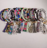 Wholesale alloy car keychain resale online - EUBFREE mixed colors PU Leather O Key Chain Custom Circle Tassel Wristlet Bracelet Keychain Women Girl Key Ring Wrist Strap