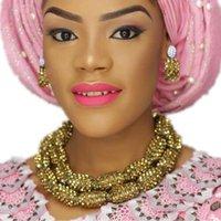 conjunto de joyas de fiesta africana al por mayor-4UJewelry Dubai sistemas de la joyería del banquete de boda perlas nupciales conjunto de la joyería africana para las mujeres 2 capas de bolas de trenza conjuntos de collar de oro