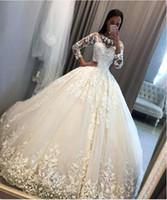 zuhair murad ball weißes kleid großhandel-Abendkleid Yousef aljasmi Labourjoisie Zuhair murad sppscr428 Ballkleid Langarm mit Rundhalsausschnitt Illusion White Tulle Appliqued Long Dress