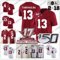 camisa vermelha 13 venda por atacado-2019 Alabama Crimson Tide # 13 Tua Tagovailoa NCAA 150TH Jersey 4 Jerry Jeudy 11 Henry Ruggs III Dói Najee Harris Campeões Vermelhos Brancos