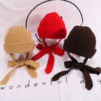 çocuk kulaklıklar toptan satış-Şapka Sonbahar Ve Kış Düz Renk Vahşi çocuk örme Yün Şapka Bebek Sıcak Kapşonlu Soğuk Kap Erkekler Ve Kadınlar Earmuffs EEA216