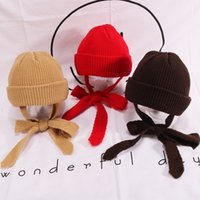 Wholesale wool earmuffs resale online - Hat Autumn And Winter Solid Color Wild Children s knitted Wool Hat Baby Warm Hooded Cold Cap Men And Women Earmuffs EEA216