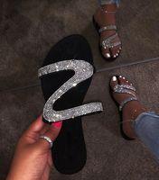 Wholesale sexy women shower resale online - 2019 fashion women s shoes diamond flat sandals fashion sexy slippers box