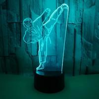 bunte kleine tische großhandel-Bunte Touch-Fernbedienung Taekwondo 3D-Lampe Kundenspezifische kleine Tischlampe des Geschenks 3D Kundenspezifisches Nachtlicht für Campusgeschenke