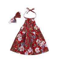 Wholesale pageant dress designers for sale - Group buy Baby Girls Designer Dresses Printed Floral Button A Line Headband Tightness Bow Princess Pageant Straps Summer Kids T