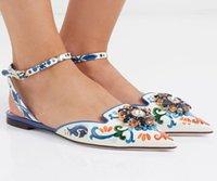 sapatos de vestido floral mulheres venda por atacado-Estampas de couro de impressão floral fivela cinta mulas diamantes sapatos mulheres cor misturada mocassins flor saltos verão arenoso vestido sapatos