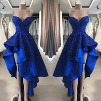ingrosso abito da sera asimmetrico-2019 Vintage Royal Blue Short High Low Prom Dresses Una linea in rilievo Appliques Sweetheart asimmetrica abiti da sera lunghi